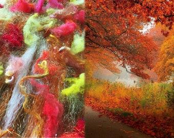 Autumn's Bounty Art Batt-Corriedale, Superwash Merino, Angelina Sparkle, Silk Threads, Locks, 2.8 oz
