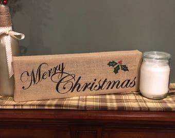 Handpainted Christmas Burlap Sign
