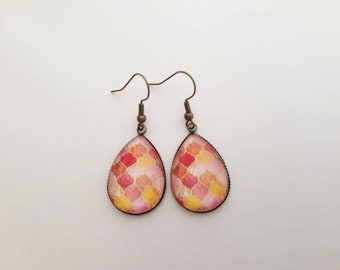 Brass glass cabochon earrings bronze Bohemian oriental Moroccan pattern