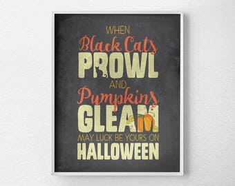 Halloween Decor, Halloween Prints, Halloween Poster, Halloween Art, Black Cat Halloween, Halloween Subway Art, Halloween Decorations