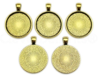 "50 - 1"" Pendant Trays - Antique Gold - 25mm Round Pendant Settings - Vintage Antique Style Pendant Blanks Bezel 25 mm 1"" Diameter"
