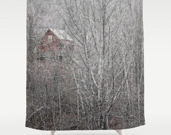 Woodland Shower Curtain-Cottage Chic Bath Curtain-Rustic Bath-Nature Bathroom-Black-White-Gray-Red-Birch Trees-Cabin in Woods-Gift Ideas