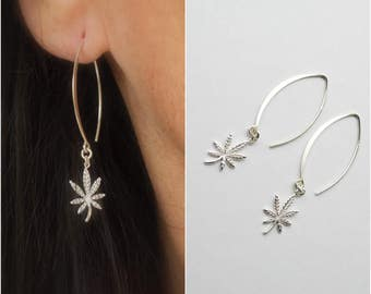 Marquise shape marijuana earrings  - cannabis earrings - pot earrings - dangle  leaf earrings - weed earrings - 420 earrings