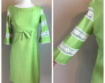 Vintage 60's green silk & lace Mod Dress