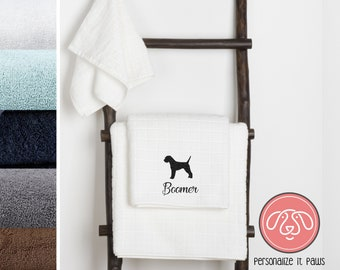 border terrier Embroidered Towel