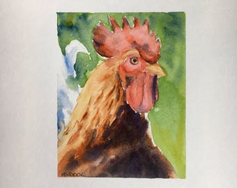 Red Rooster Original Signed Watercolor Painting
