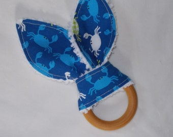 New! Don't Be Crabby Rabbit Ears Wooden Teething Ring
