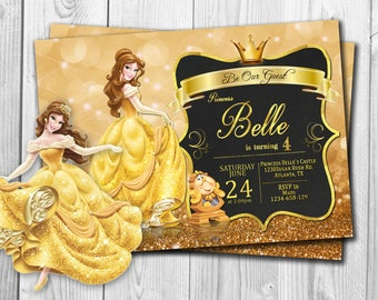 Beauty and The Beast Invitation, Beauty and The Beast Birthday Invitation , Beauty and The Beast, Disney Princess, Princess Belle