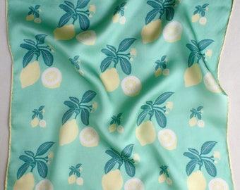 Lemons - Hand Illustrated 100% Silk Scarf