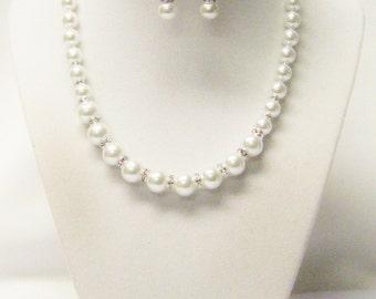 White Glass Pearl w/Rhinestones Choker Necklace/Earrings Set