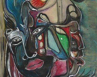 Outsider Brut Art Double Face Mask Surreal African Statesman