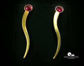 Ruby Gemstone Long Dangle Earrings Statement Earrings Jewelry Gift Modern Earrings S-shaped Drop Earrings Gift Geometric Silver Gold Plated