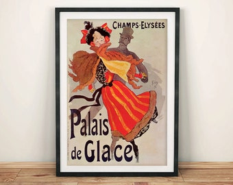 FRENCH POSTER: Vintage Palais de Glace Advert, Red Art Print Wall Hanging