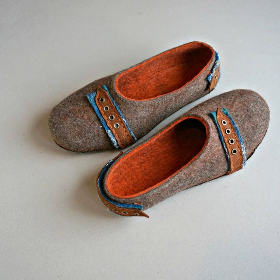 men s wool house shoes with leather soles boiled wool