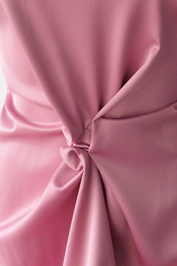 Polyester Satin Fabric Poly Spandex Heavy Duchess Dull Stretch Pink Color Bridal Under Lace 150cm 60 Inches From BodikianTextiles On
