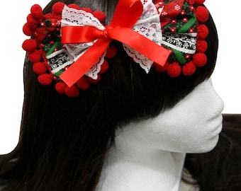 Vintage Christmas Cottage Style Red Cherries Hair Bow