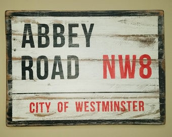 Rustic Decor Abbey Road Sign, Reclaimed Wood Sign, Pallet  Wood Signs, Beatles Sign