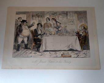 John Leech Mr Jorrocks return to his family Engraving 19th century