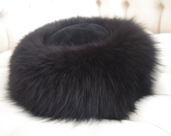 "NEW Genuine Fox Fur Hat 11""  Size M"
