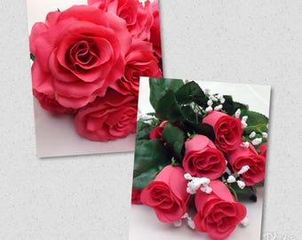 New Silk Guava Rose Bush, 12 Guava Rose Buds, Dark Coral Roses, Guava Wedding Supplies