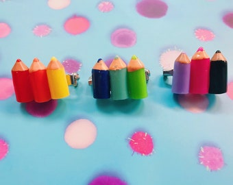 Rainbow Pencil Brooches