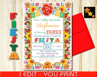 "Third  Birthday Invitation, Mexican Fiesta Colorful Flowers, DIY, Printable, 5""x7"" or 4""x6""  each"