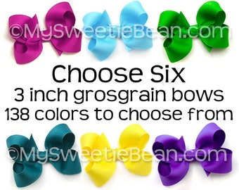 """3 inch Hair Bows for Toddlers, 138 Colors, 3 Inch Boutique Bows for Girls, 3"""" Grosgrain Bows Set of 6, Choose Colors, Medium Bows for Baby"""