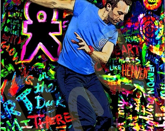 Coldplay Chris Martin Dancing, on a Mylo Xyloto Background, Digital Impressionism Painting Art Print, Poster