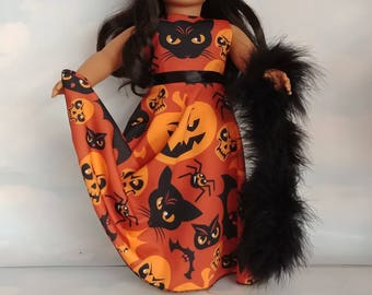 Black Cat Halloween Gown 18 inch doll clothes