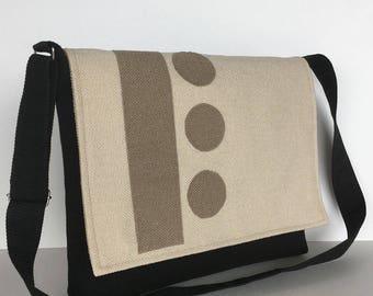 Black messenger bag, women cross body bag, Vegan shoulder bag , Office bag with patch work, Handmade shoulder purse, Modern messenger bag