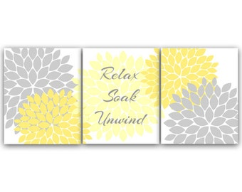 Bathroom Wall Art, Relax Soak Unwind CANVAS PRINTS, Yellow and Gray Bathroom Decor, Modern Bathroom Art, Set of 3 Bath Art Prints - BATH28