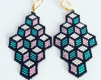 Statement Geometric Earrings, Beadwork Earrings, Dangle Long Earrings, Black & Pink Earrings, Gift for Her, Valentine's Day Gift