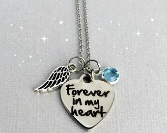 Forever in my Heart Memorial Necklace, Sympathy Gift, Remembrance Jewelry, Loss of Loved One, Memorial Jewelry, In Memory Of