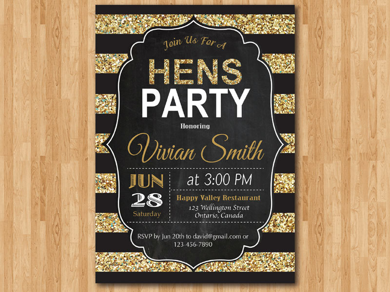 Hens Party Invitation. Hen night invite. Gold Glitter. Black