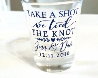 Take a Shot, Wedding Favors, Wedding Shot Glasses, We Tied the Knot Shot Glass, Personalized Shot Glasses, Custom Shot Glasses, 1514