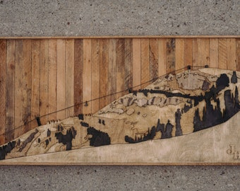 handcrafted jackson hole mountain on salvaged wood