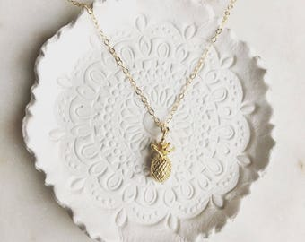 Pineapple aloha charm necklace, little pineapple necklace, gold pineapple