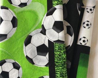 Green Soccer Ball All Cotton Cloth Lunch Box Napkin 12x15 in Size by Smartkin