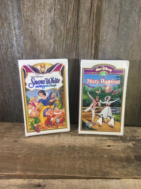 Vintage pair of Disney movies VHS format, Walt Disney Masterpiece Collections Snow White and the Seven Dwarfs & Mary Poppins,childrens movie
