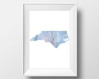 North Carolina State Blue Watercolor Printable Art, North Carolina Print, North Carolina Art, Modern Art,