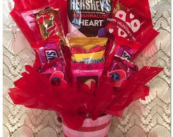 Valentine Candy Arrangement,  Red and Pink Stripe, Valentine Candy Gift