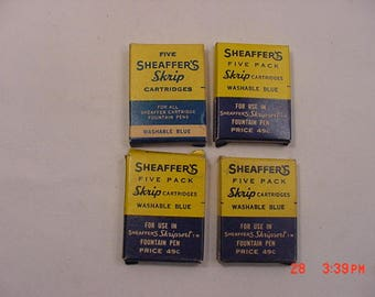 4 Boxes Vintage Sheaffer's Skrip Cartridges Washable Blue --- Empty Tubes  17 - 1247
