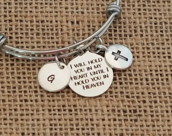 Personalized Memorial Jewelry, Sympathy Gift, Memorial Bracelet, I Will Hold You in my Heart, Remembrance Bracelet, Memorial Gift Idea