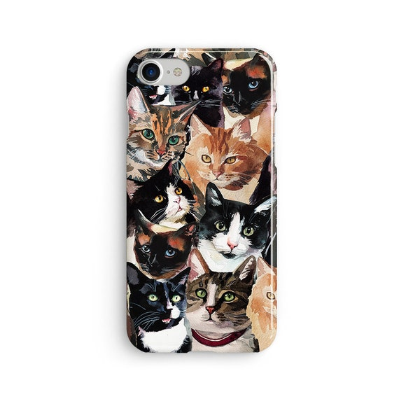Cat face pattern iPhone X case - iPhone 8 case - Samsung Galaxy S8 case - iPhone 7 case - Tough case 1P091