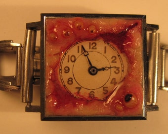 Infected Time Sculpture Bracelet Handmade