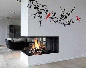 Cherry blossom tree branch vinyl wall decal wall art