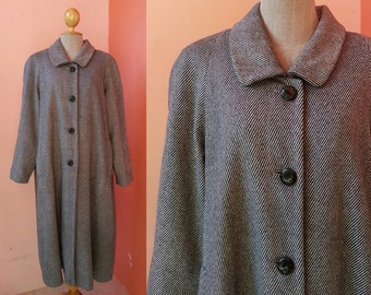 BALMAIN Wool Coat Women XL   Vintage Coat   Dress Coat   Striped Coat   Womens Coats   Long Coat   Winter Coat   Designer Coat   Retro Coat