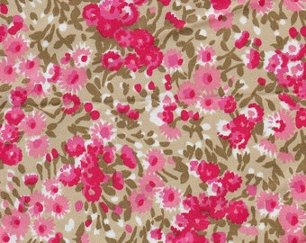 2 Yards Vintage Pink Flower Print Fabric - Pink Cotton Sateen Fabric - Pink Cotton Print - Spring Fashion - Pink Home Decor Quilting Supply