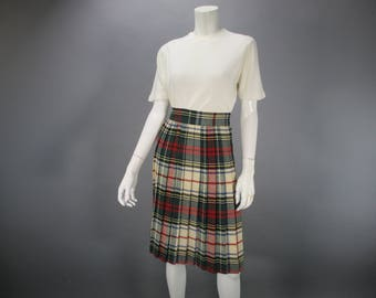 Vintage 1950s Skirt Plaid Pleated Wool Red Green Blue, High Waist Knee Length Size S, School Girl