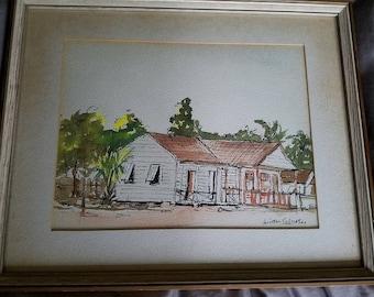 Winston Culmer Village Watercolor Dated 1964